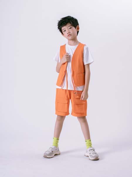 彩色笔童装品牌2020春夏橙色套装马甲