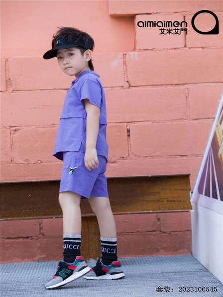 艾米艾门童装品牌2020春夏紫色休闲套装T恤短裤