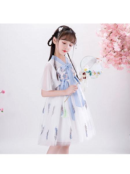赖氏童装品牌2020春夏洋气女童连衣裙六一儿童节表演服中大童公主礼裙