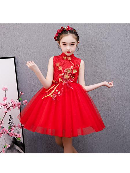 赖氏童装品牌2020春夏女童连衣裙新款中小女童连衣裙子刺绣网纱蓬蓬裙表演主持