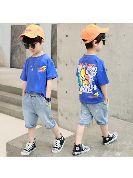 童婴界童装品牌2020春夏儿童装男童短袖夏装新款帅气男孩牛仔裤夏天套装韩版洋气衣服