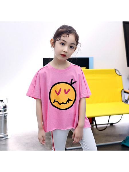 魔豆小熊童装品牌2020春夏女童T恤新款韩版中大童卡通笑脸薄款纯棉上衣儿童夏装潮