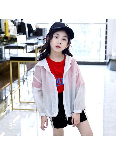 魔豆小熊童装品牌2020春夏儿童防晒衣新款女童纯色轻薄皮肤衣女孩连帽外套