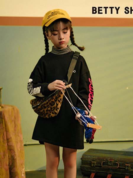 贝蒂小羊童装品牌2020春夏连衣裙黑色