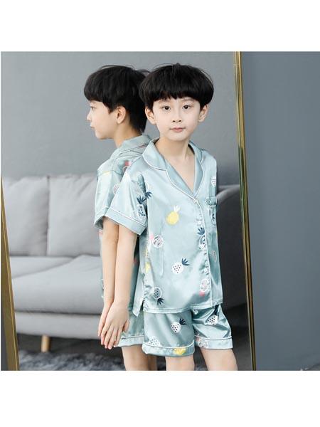 沐沨童装品牌2020春夏男童睡衣纯棉儿童空调家居服中大童卡通长袖男孩韩版套装