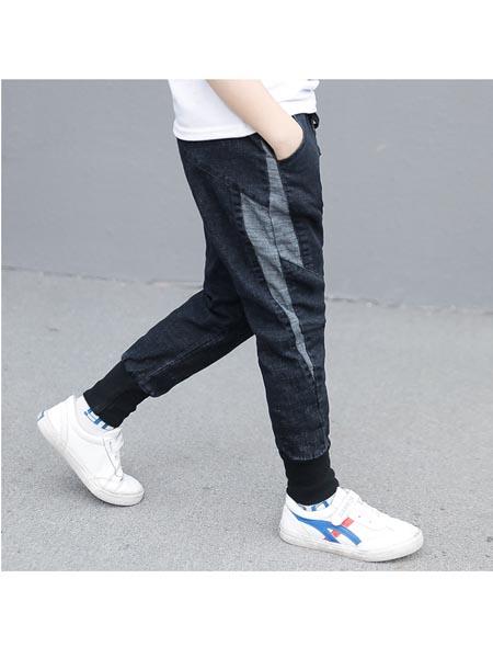 沐沨童装品牌2020春夏新款中大童男童休闲长裤儿童闪电裤子学生男孩裤子