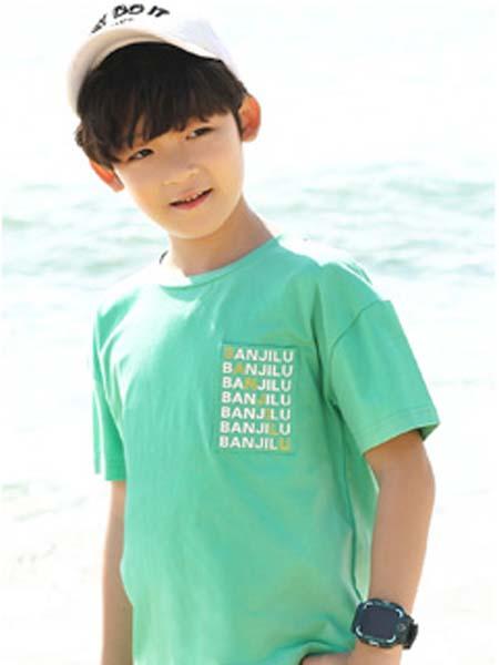 班吉鹿banjilu童装品牌2020春夏绿色T恤男童
