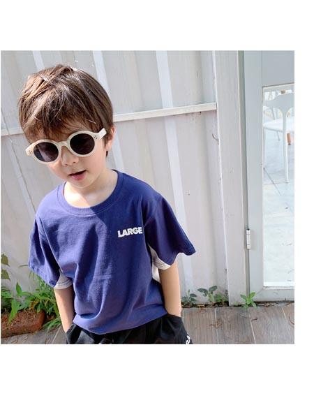 可可小派童装品牌2020春夏男女宝宝儿童圆领套头上衣 日系后背ACU大印花短袖t