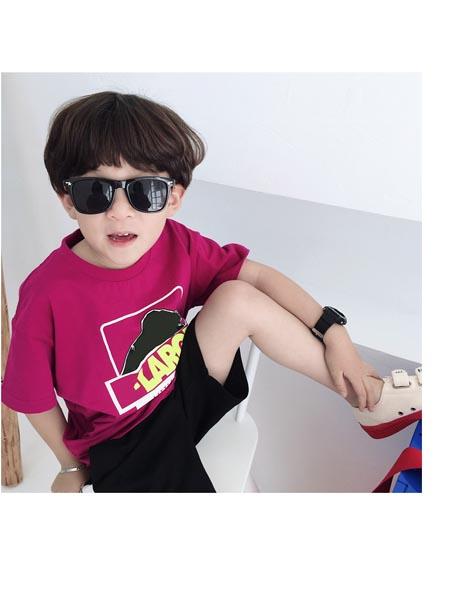 可可小派童装品牌2020春夏日系潮牌童装印花宽松款男女宝宝儿童短袖t恤