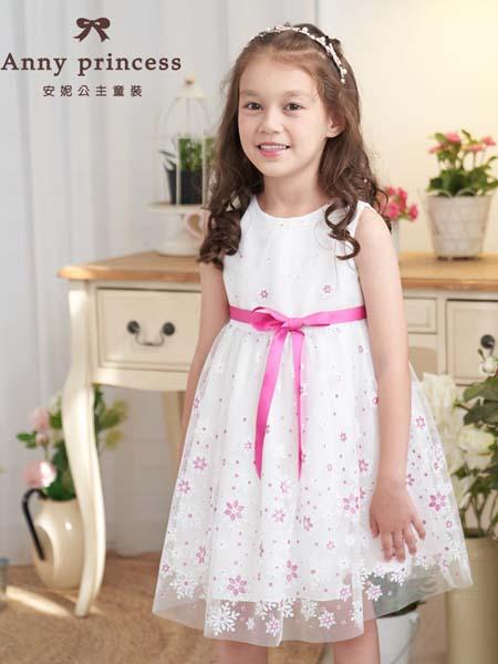 安妮公主童装品牌2020春夏紫红色绳结白纱连衣裙
