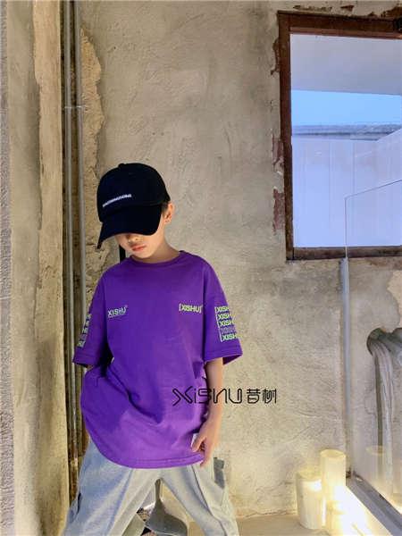 拉酷儿童装品牌2020春夏紫色时尚T恤