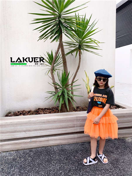拉酷儿童装品牌2020春夏橙色网纱裙时尚凉鞋