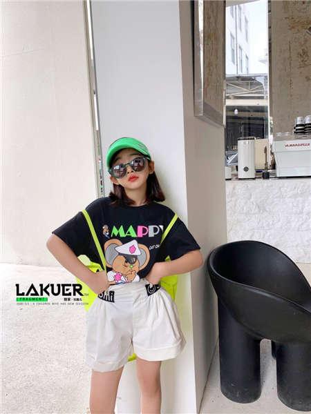 拉酷儿童装品牌2020春夏黑T恤白短裤
