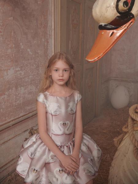 Monnalisa童装品牌2020春夏丝绸无袖连衣裙