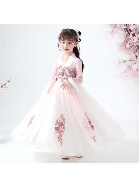 聪明小树童装品牌2020春夏女童汉服新款儿童礼服蓬蓬纱超仙生日洋气小花童