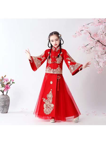 聪明小树童装品牌2020春夏女童中国风超仙汉服套装儿童古风唐装襦裙女孩长袖古装拜年服