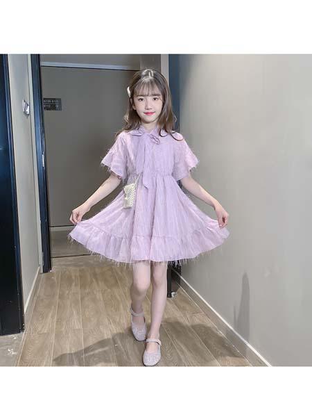 梵夕童装品牌2020春夏新款儿童韩版时髦中大童洋气流苏连衣裙潮