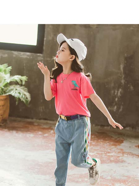 梵夕童装品牌2020春夏新款韩版中大童时髦洋气T恤牛仔裤两件套潮