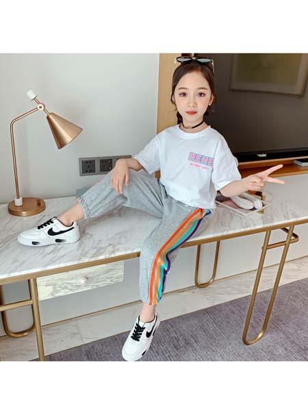 梵夕童装品牌2020春夏新款小女孩中大童纯棉洋气时髦彩条休闲套装
