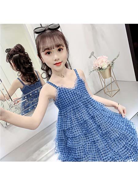 梵夕童装品牌2020春夏新款儿童裙子女中大童洋气洋气格子蛋糕裙