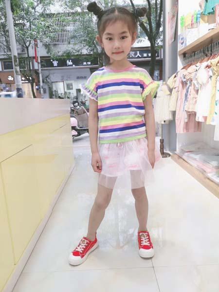 咔咪小蜜蜂童装品牌2020春夏横纹T恤绿粉蓝白