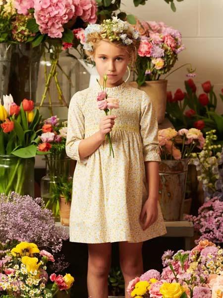 La Coqueta童装品牌2020春夏淡雅黄色连衣裙波点碎花