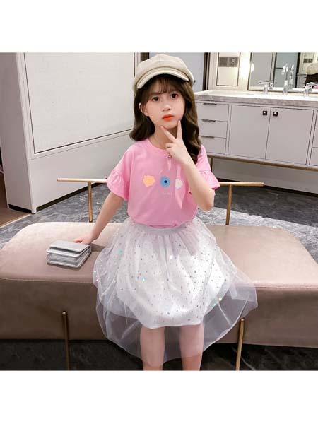 YC·Kids童装品牌2020春夏短袖泡泡袖裙子套装 可爱潮范时尚小花T恤套装