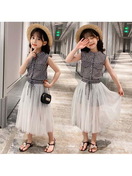 YC·Kids童装品牌2020春夏女孩长款无袖T恤衫衔接仙女裙韩范设计