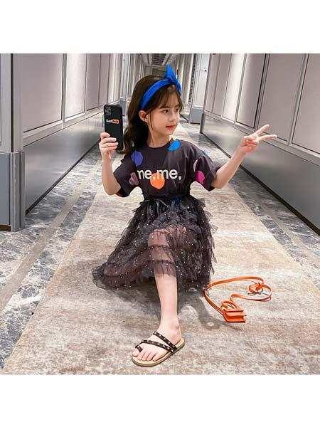 YOBEI·KIDS童装品牌2020春夏新款韩版女童圆点纱裙 中大儿童字母T恤公主童裙