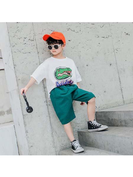 YOBEI·KIDS童装品牌2020春夏新款韩版男童胸前恐龙套装 中大童卡通T恤两件套