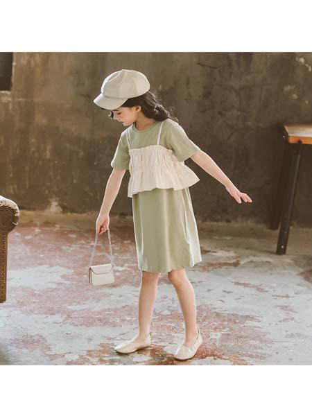 YOBEI·KIDS童装品牌2020春夏新款韩版女童吊带连衣裙两件套 中大童宽松T恤裙