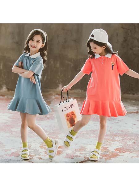 YOBEI·KIDS童装品牌2020春夏新款韩版女童字母卡通T恤裙 中大童宽松连衣裙潮