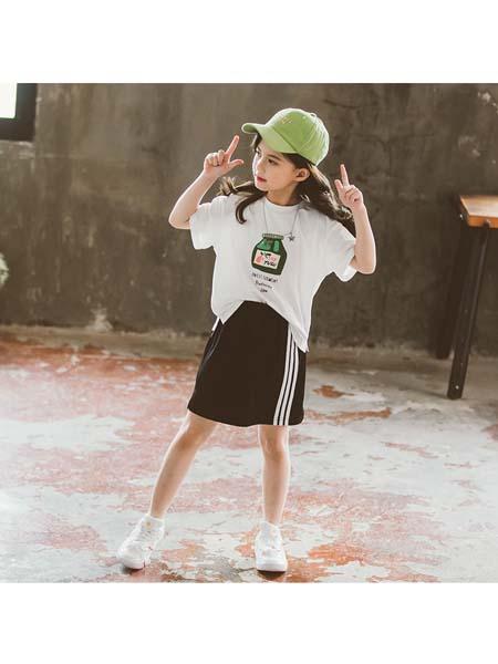 YOBEI·KIDS童装品牌2020春夏新款韩版女童奶瓶T恤套装 中大童条纹短裙两件套