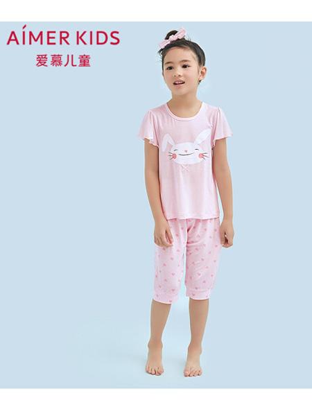 爱慕童装品牌2020春夏儿童家居服天使爱兔儿莫代尔短袖七分裤睡衣套装