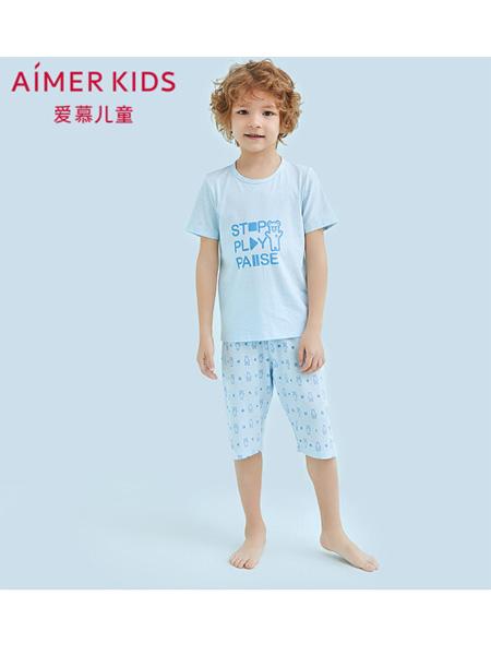 爱慕童装品牌2020春夏儿童男孩家居套装男孩短袖五分裤睡衣套装男童家居服