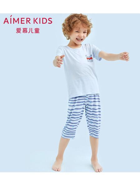 爱慕童装品牌2020春夏儿童中大童天使慕尔熊男孩莫代尔短袖七分裤睡衣套装男