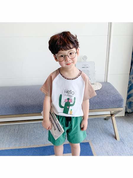 可咘童装品牌2020春夏拼接款纯棉T恤男童短袖套装