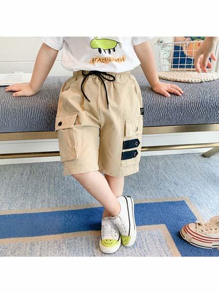 可咘童装品牌2020春夏男童抽绳休闲短裤