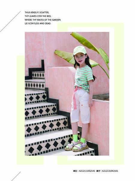 德蒙斯特童装品牌2020春夏绿色条纹T恤