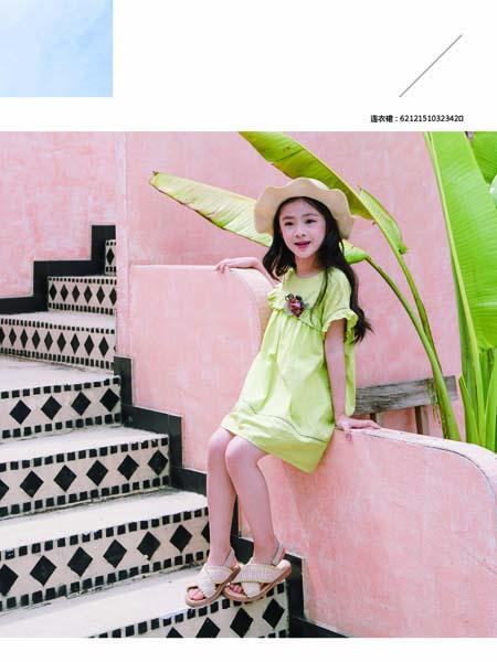 德蒙斯特童装品牌2020春夏绿色花朵喇叭袖连衣裙