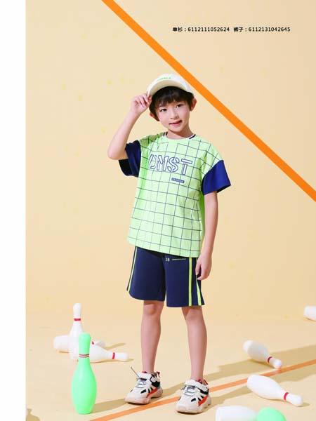德蒙斯特童装品牌2020春夏格纹绿色蓝色袖子T恤