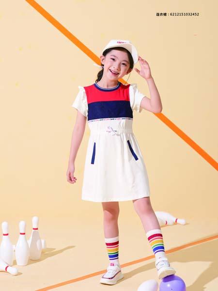 德蒙斯特童装品牌2020春夏圆领红色蓝色白色连衣裙