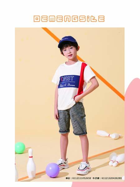 德蒙斯特童装品牌2020春夏白色T恤蓝色印花