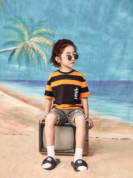 宠来宠趣童装品牌2020春夏条纹T恤黑色黄色