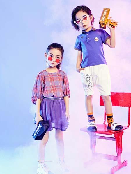 寵來寵趣童裝品牌2020春夏紫藍色T恤