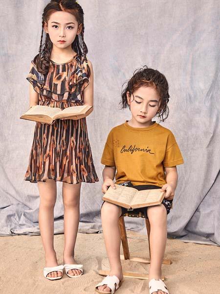 寵來寵趣童裝品牌2020春夏荷葉邊連衣裙棕色褐色印花
