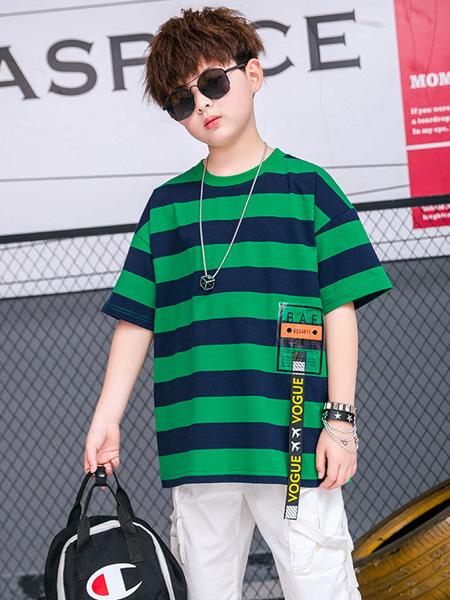 焯超童装品牌2020春夏男童条纹短袖t恤打底衫