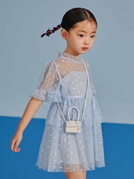 gxg.kids童装品牌2020春夏网纱袖蓝色连衣裙