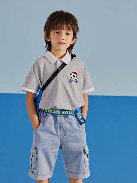 gxg.kids童装品牌2020春夏白色领灰色T恤