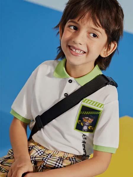 gxg.kids童装品牌2020春夏绿色领子T恤